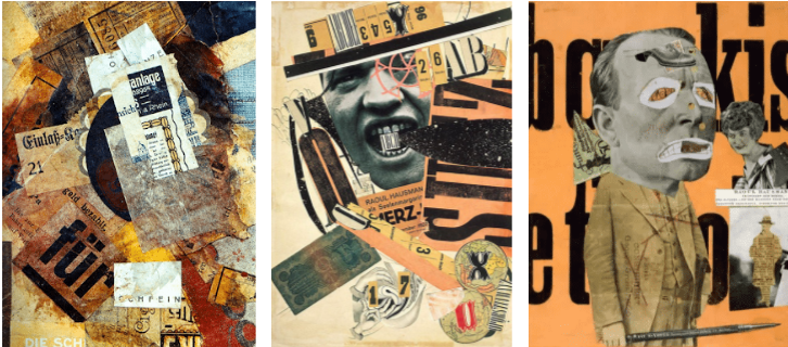 Usage of collage in some famous Dadaism designs.