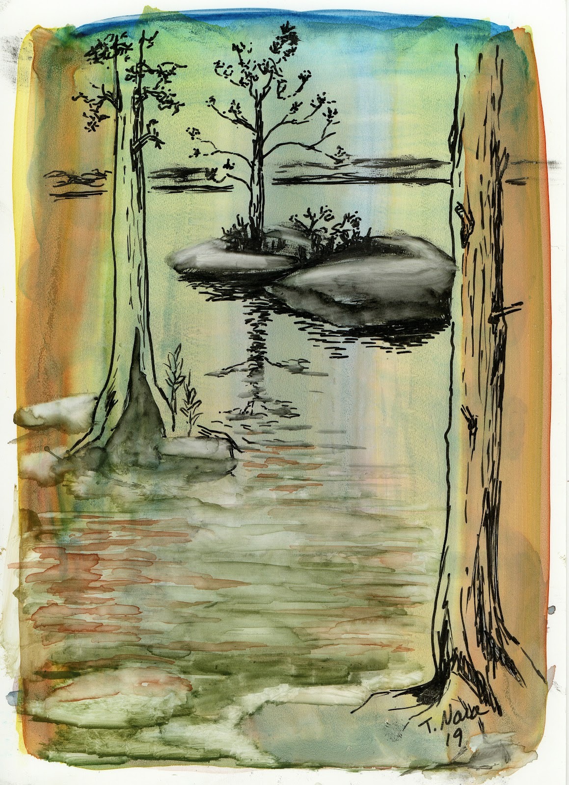 landscape painting tan tree trunks, and a small island