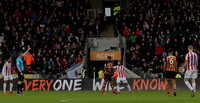 Stoke City's fans at Hull City's KCOM Stadium.
