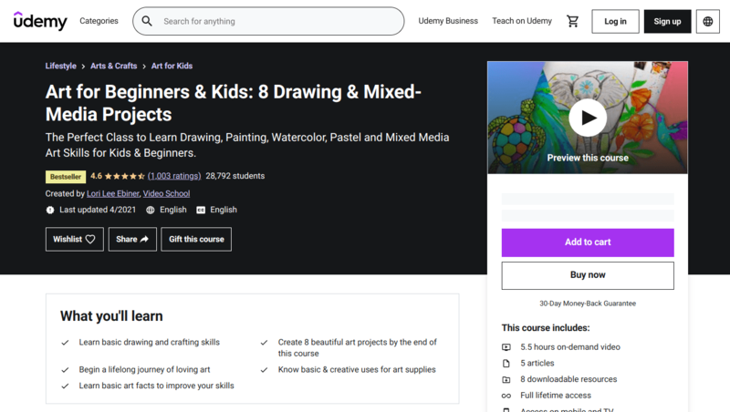 Art for Beginners & Kids: 8 Drawing & Mixed-Media Projects provides students with the basic drawing and crafting skills they need to create eight art projects by the end of the course.