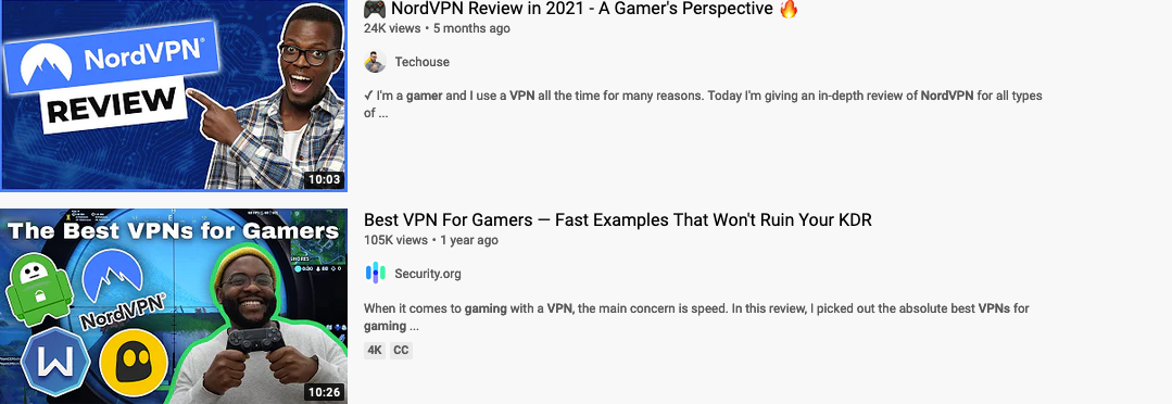 Nord VIP YouTube campaigns