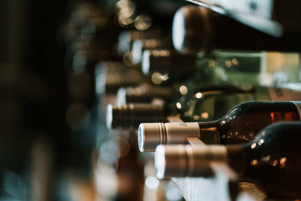 selective focus photography of bottles