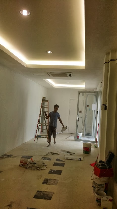 painting and lighting for plaster ceiling