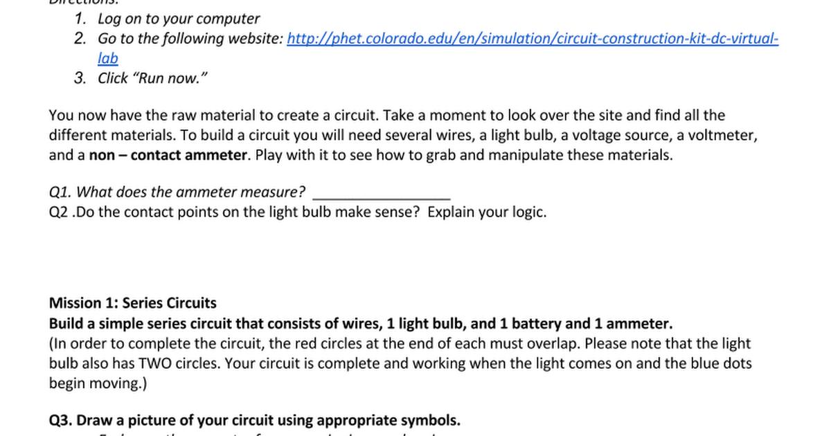 Phet Simulation Circuit Building ST - Google Docs