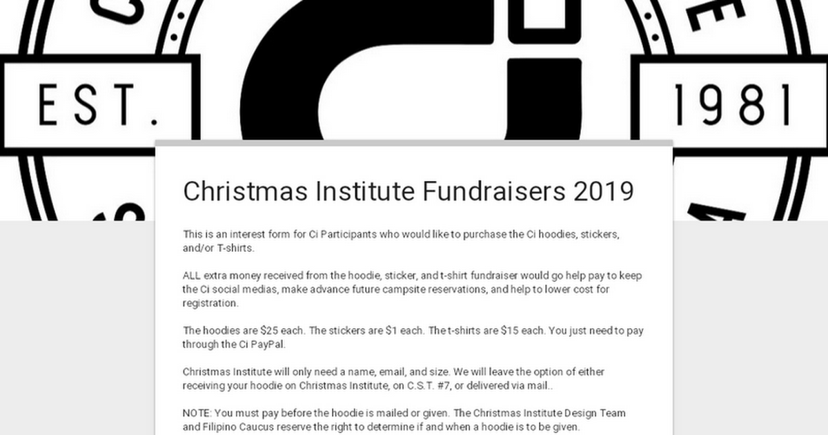 Christmas Fundraiser Shirts.Christmas Institute Fundraisers 2019