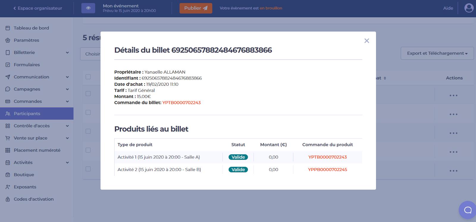 Photo représentant une liste de commandes liée à un participant dans le cadre de la gestion de commandes sur Yurplan