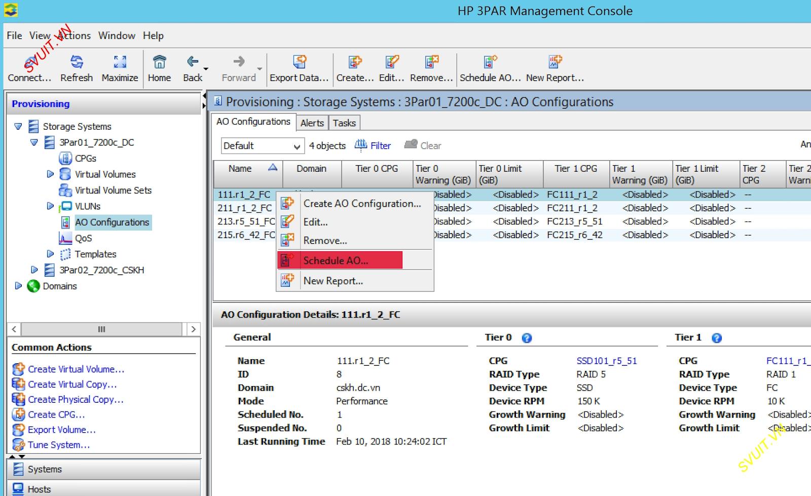 HPE 3Par Adaptive Optimization schedule configuration (1)