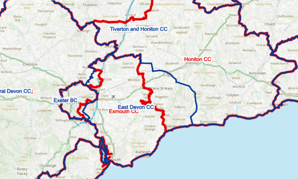 Changes to the electoral boundaries proposed for the East Devon area - existing boundaries in blue and proposed changes in red