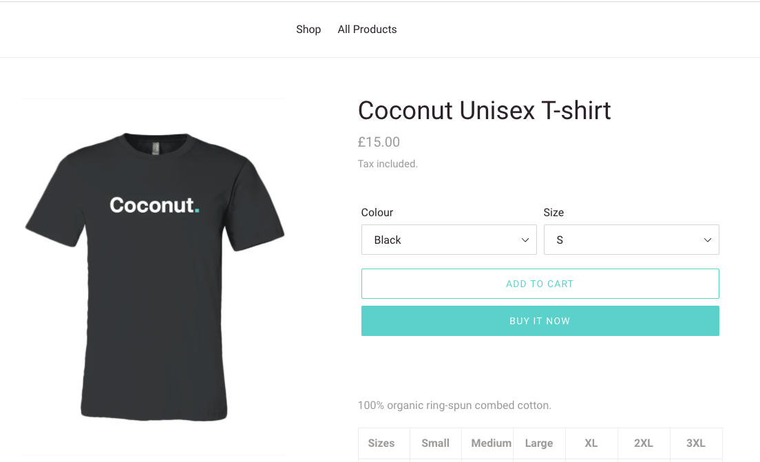 Coconut T-shirts shop for print on demand