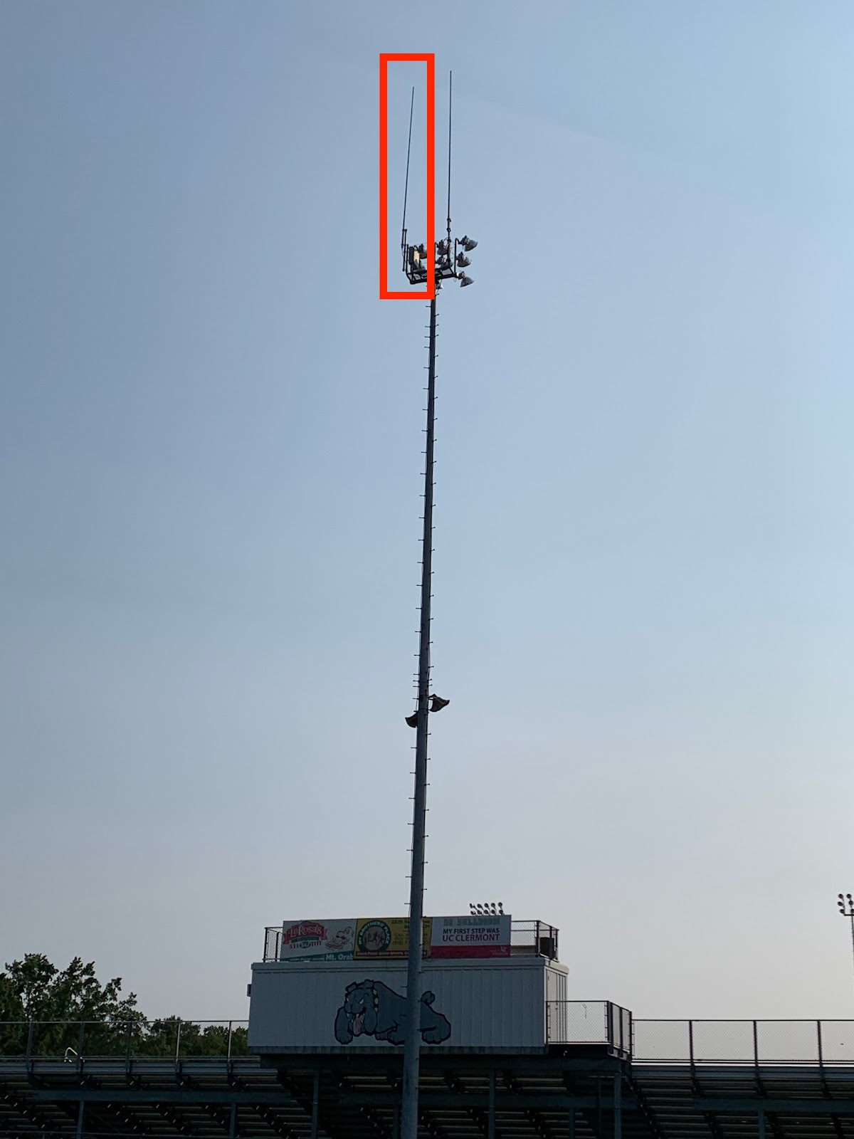 highlighted red box area shows where the second antenna is located for the new District emergency radio system.