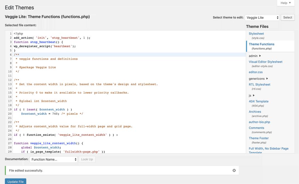 tela de edição do arquivo functions.php no wordpress
