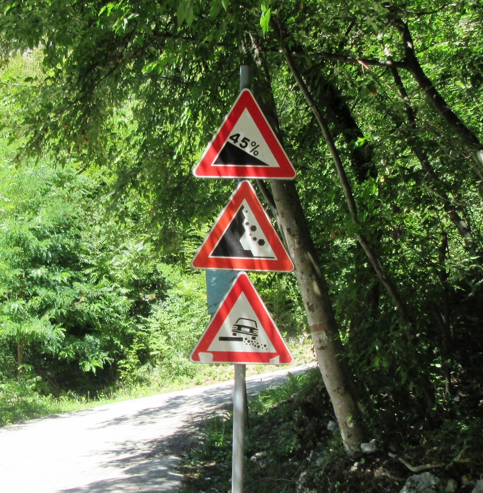 Cycling Scanuppia, Italy - 45% gradient sign