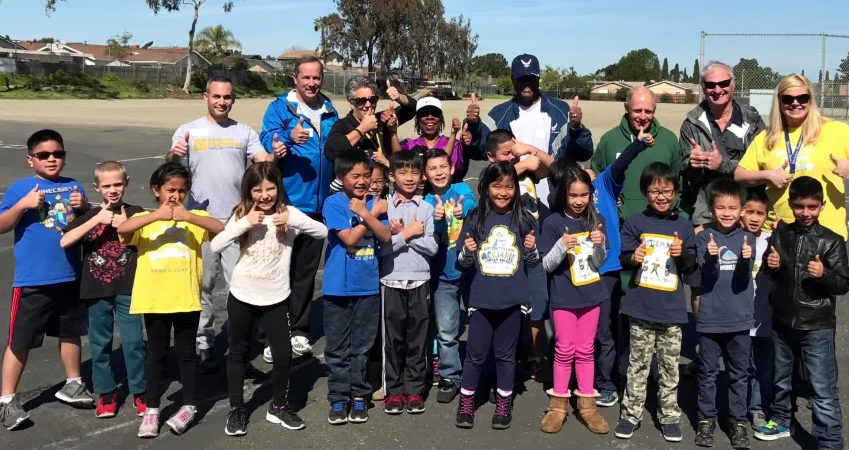 students and teachers from a school in San Diego, CA
