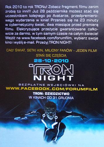 Tył ulotki filmu 'TRON: Dziedzictwo'