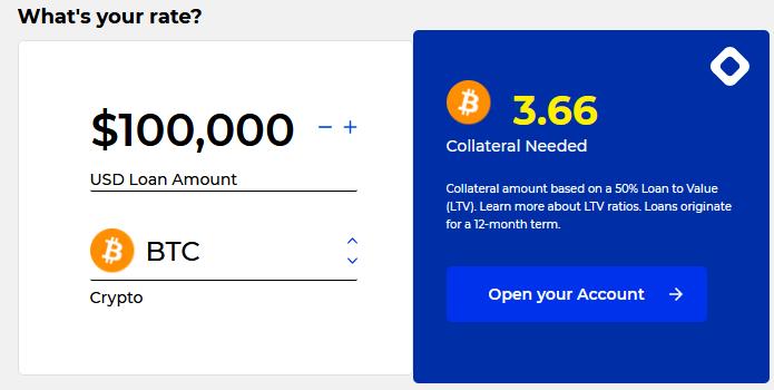 BlockFi loan calculator showing that a $100,000 Bitcoin loan requires 3.66 bitcoin.