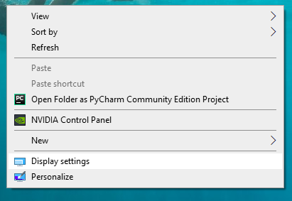 right click on desktop and select display settings from the drop down menu