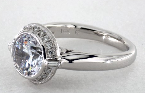 Bezel Set Diamond Halo by Martin Flyer on James Allen