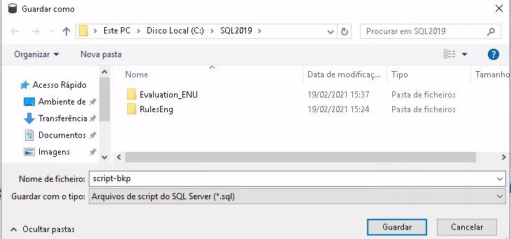 Janela automática do Windows para escolher o local de salvar o arquivo, com o menu do Windows ao lado esquerdo, aberto dentro da pasta principal do SQL 2019.