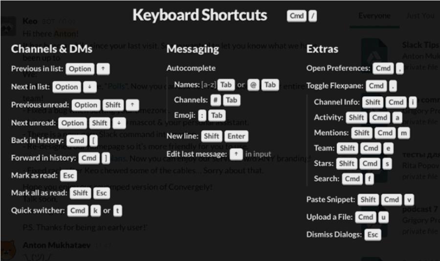 Сочетания клавиш для быстрой работы в Slack