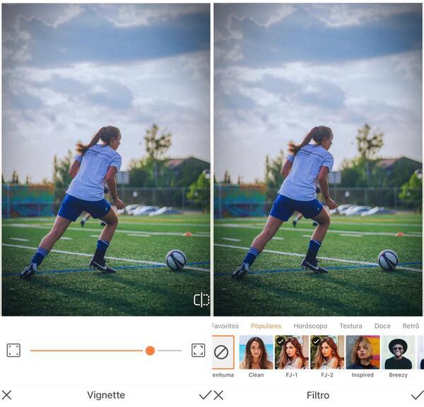 Foto de uma mulher jogando bola sendo editada pelo AirBrush com a ferramenta Vinheta e Filtro