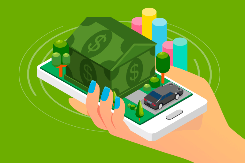 A woman holding a cellphone with a popup picture of a money house representing an investment app for real estate investing.