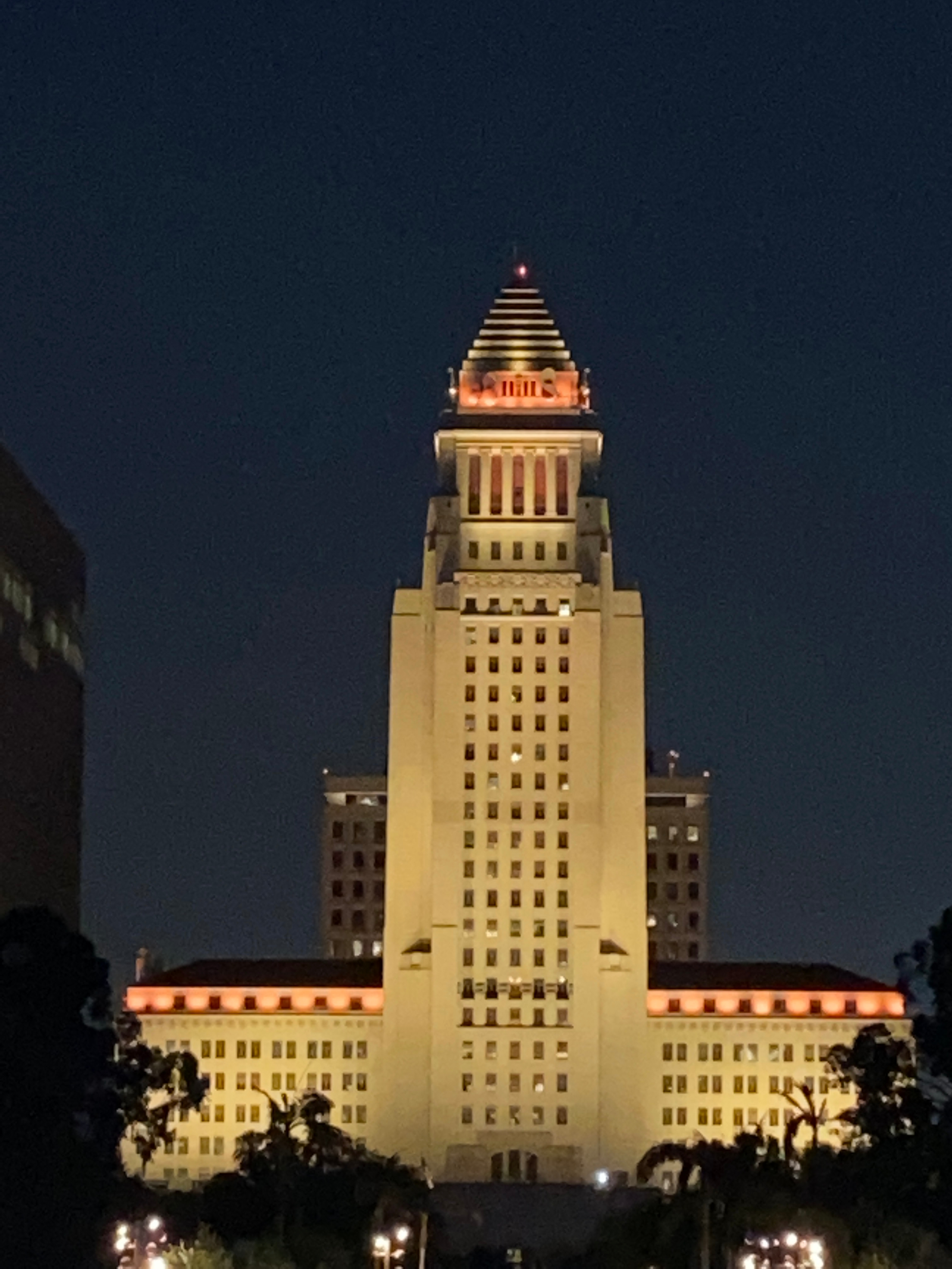Los Angeles City Hall glows orange supporting Stand Up To Cancer