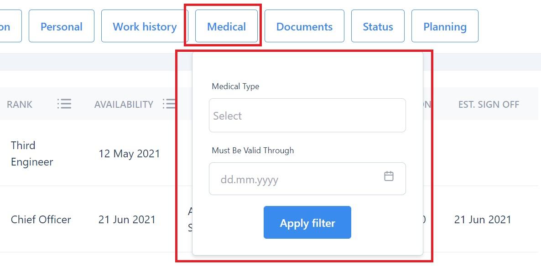 screenshot of the Martide maritime recruitment platform showing the medical filter.