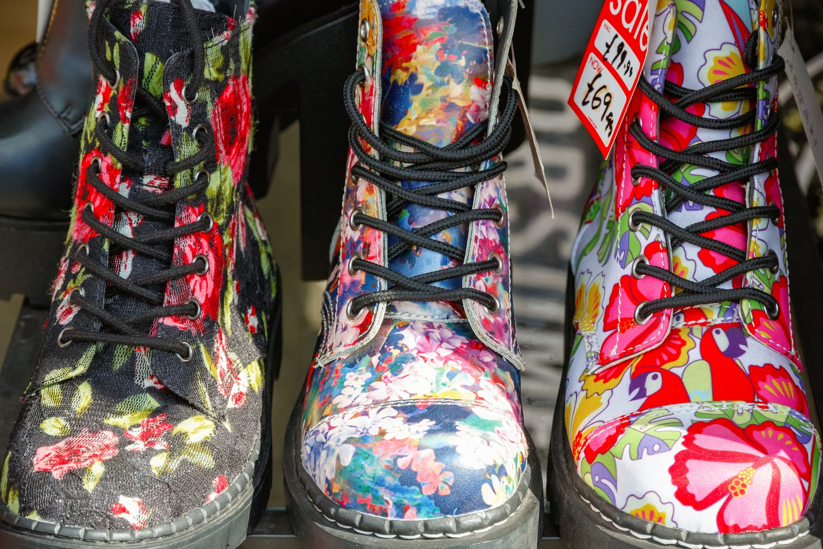 Floral punk boots at one of the vendors at Camden Market in London