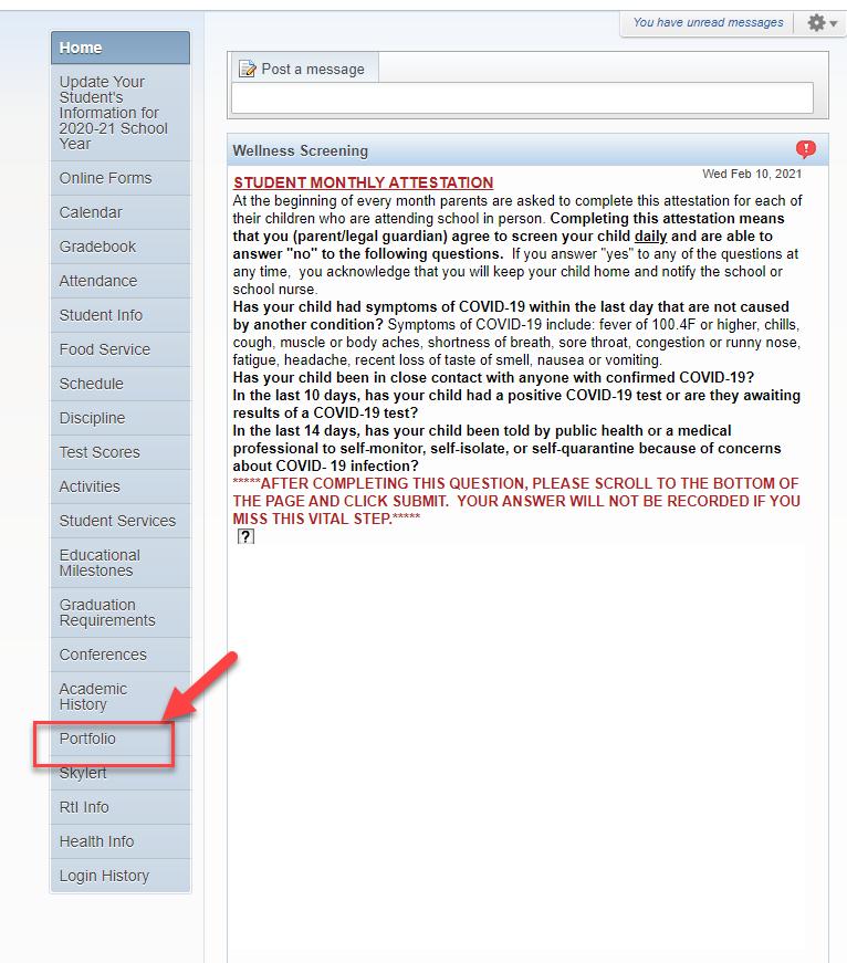 red box and arrow around the Portfolio button on Skyward