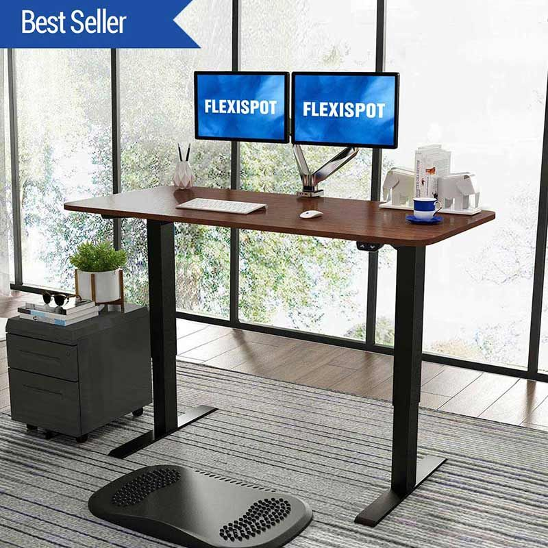 Flexispot Electric Height Adjustment Standing Desk is another generously sized electric standing desk that can accommodate more than one monitor and all your computer accessories and office supplies that lets you adjust the height with a touch of a button