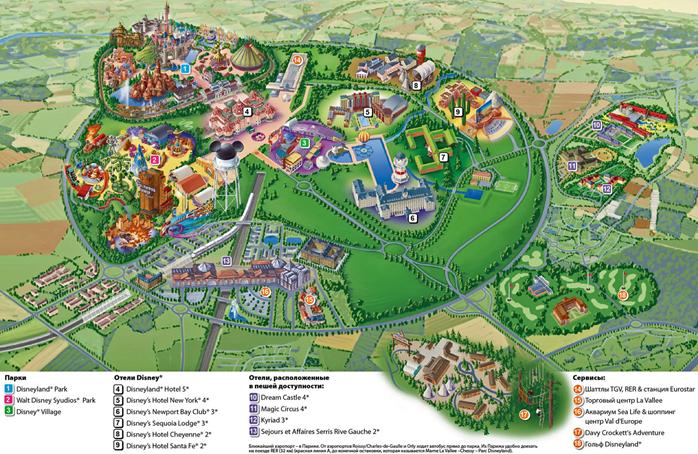 Карта посещения Диснейленда в Париже
