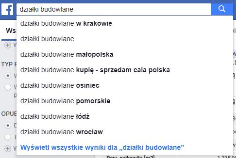 jak szukać działki - Wyszukiwarka Facebook
