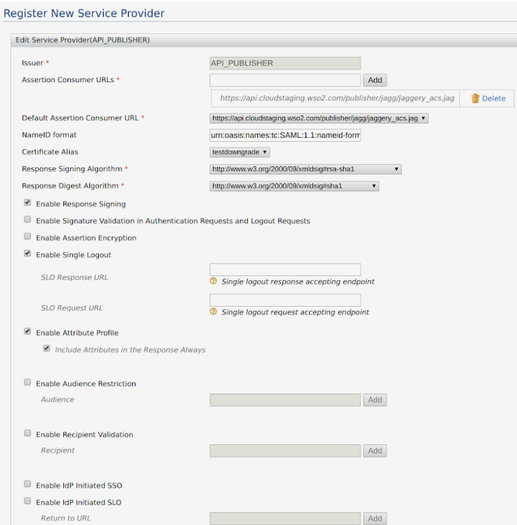 Configure an External Identity Provider for Single Sign-On in a WSO2