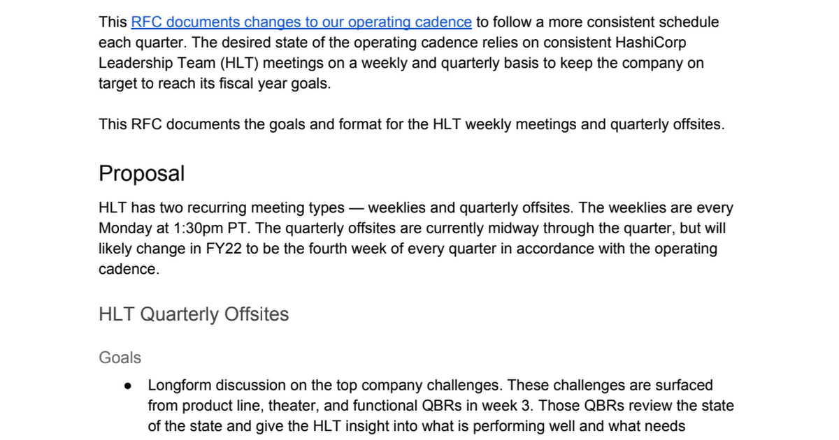 ORG-012 HLT Weekly Meetings and Quarterly Offsites.pdf