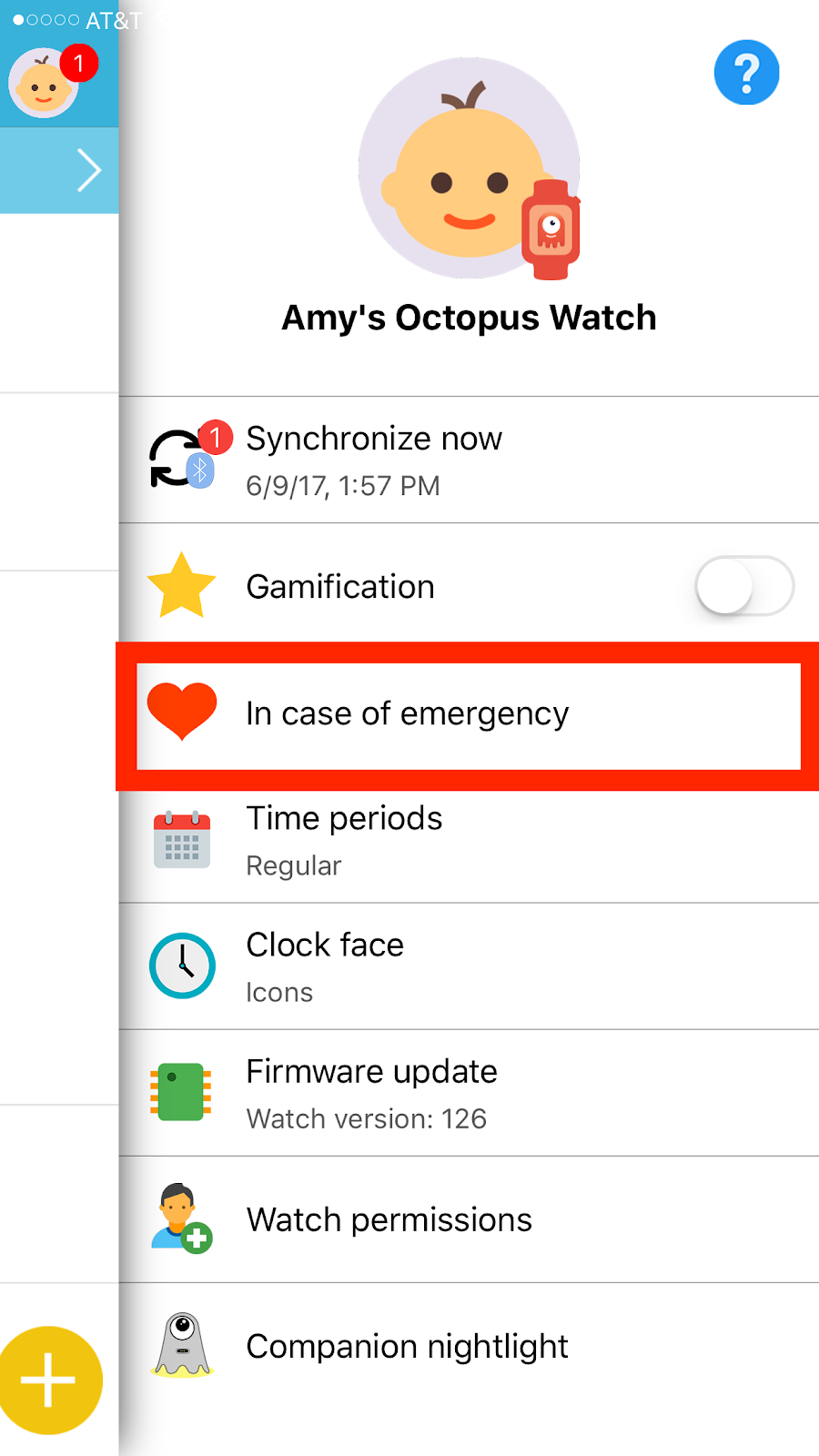 Octopus Watch app: In case of emergency menu