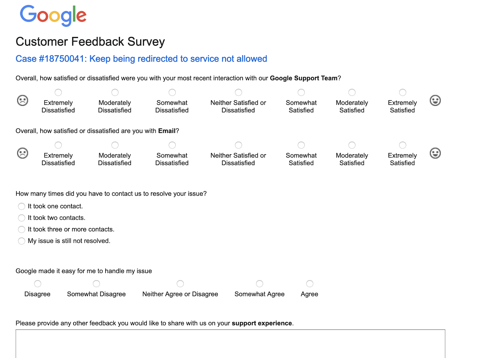 google customer feedback survey