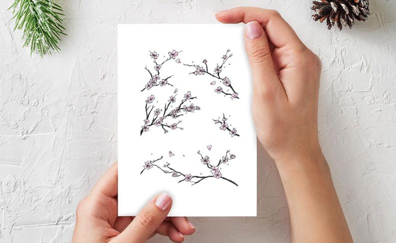 Etsy Mockup of a greeting card with Japanese Cherry Blossom illustration.
