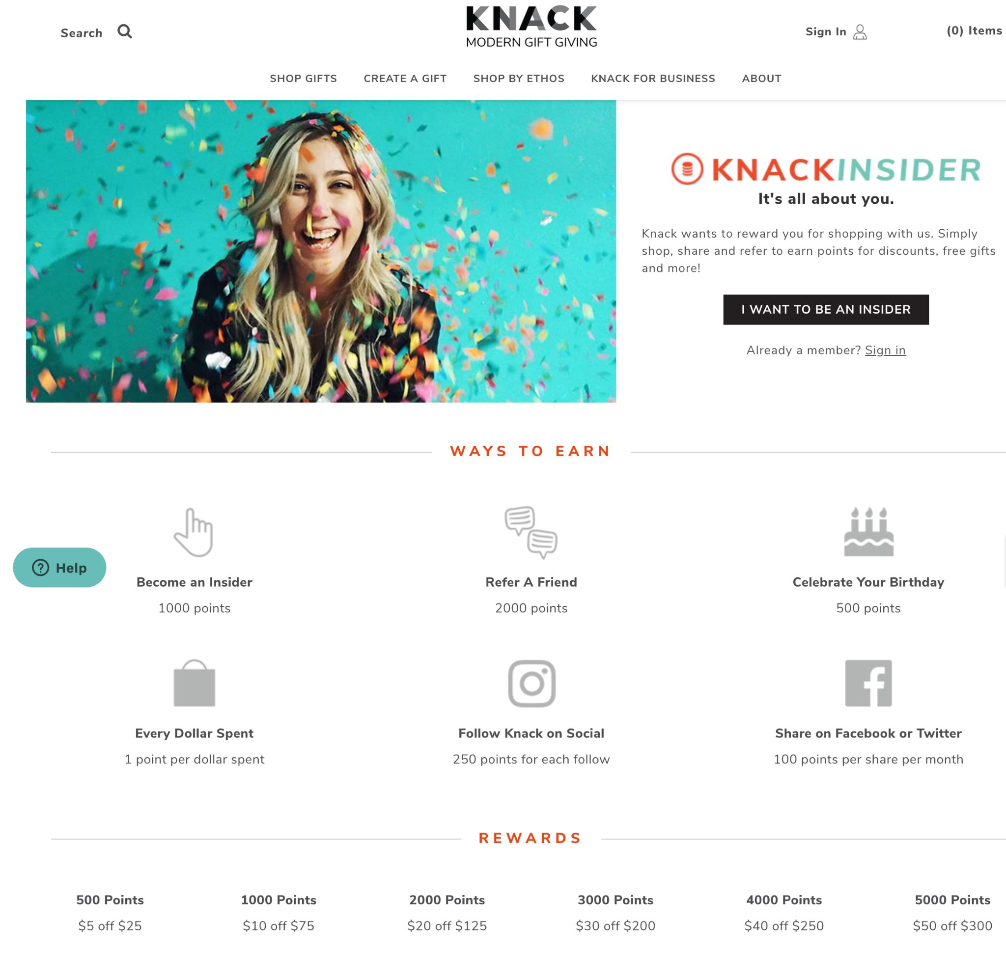 Knack Modern Gift Giving Knack Insider Rewards Explainer Page