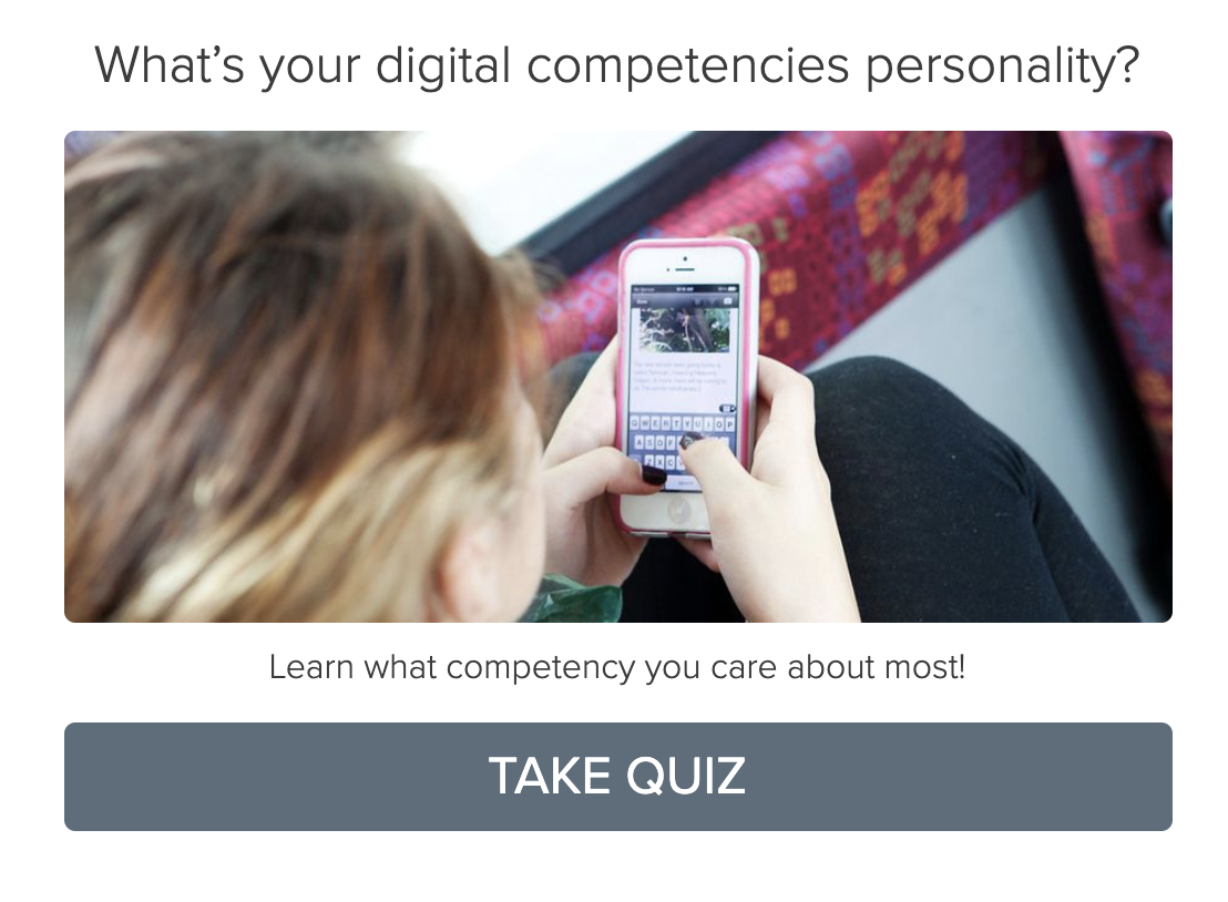 example of college quizzes - digital competencies personality quiz cover