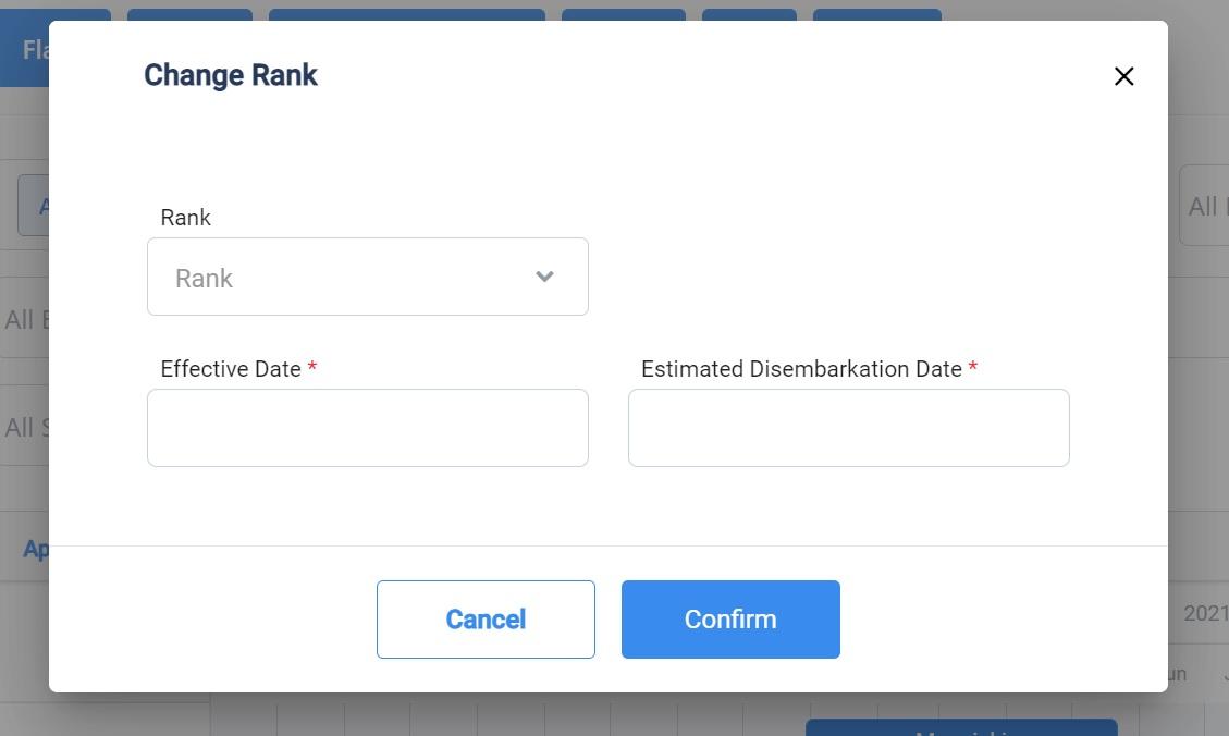 screenshot of the change rank pop up box