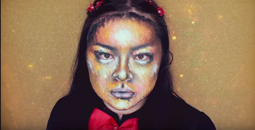 realistic chalk pop art face makeup for halloween