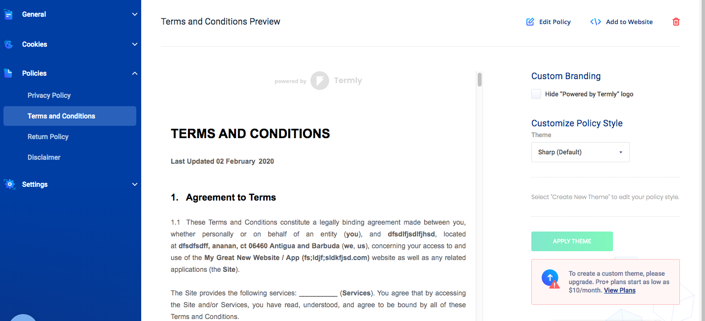 Termly Terms and Conditions