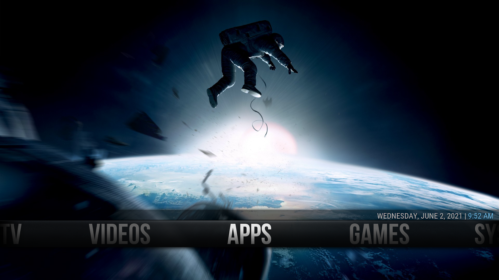 man hovering in outerspace