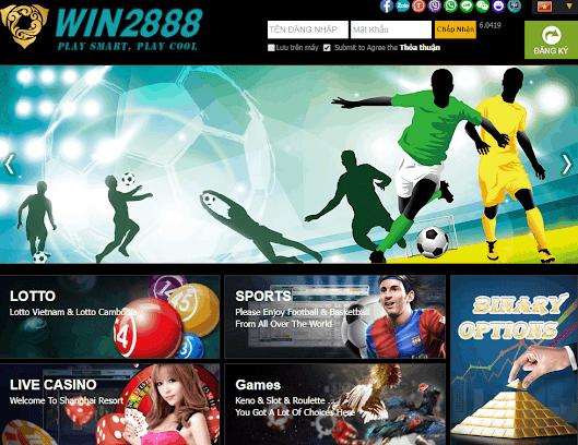 Giao diện trang chủ nhà cái Win2888