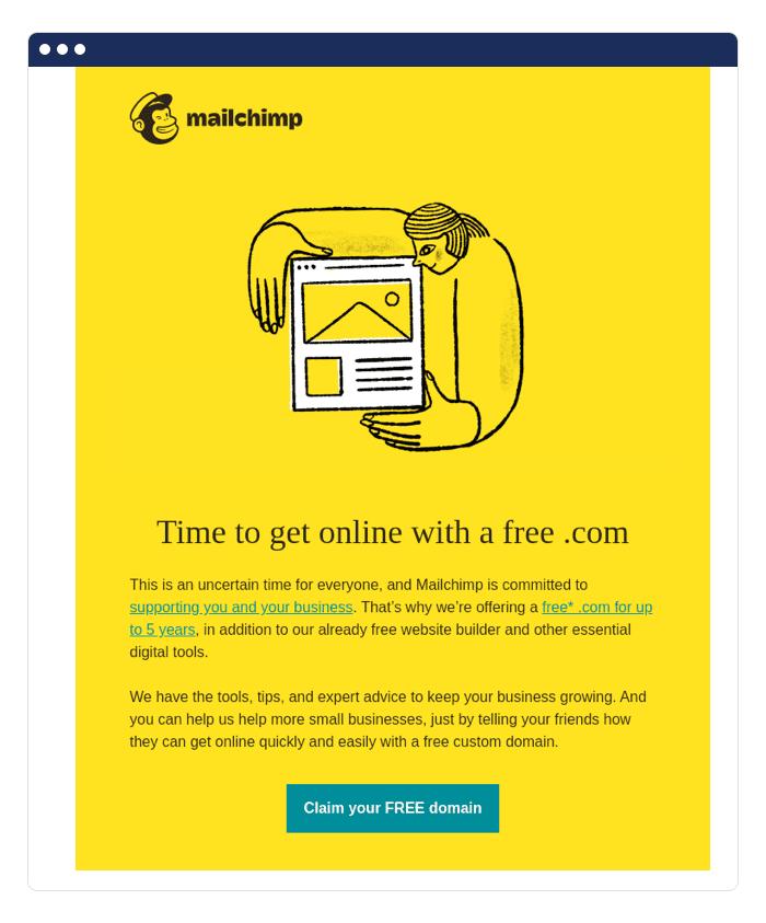 Ví dụ về email bán kèm của Mailchimp