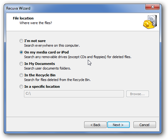 Download Recuva to recover deleted files
