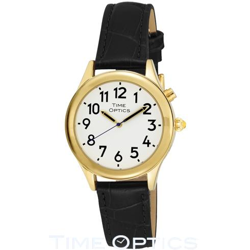 Optics watch in gold with a leather strap