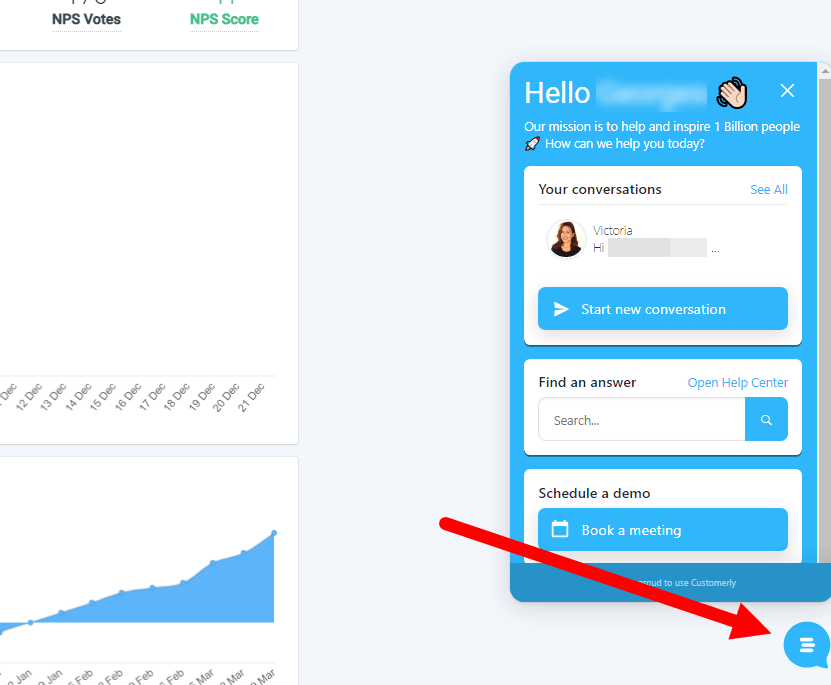 Easily access live chat support