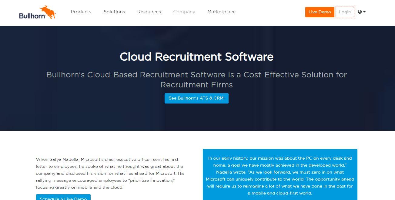 Cloud Based Recruitment Software - Bullhorn