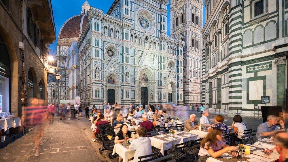 People dining in Piazza del Duomo in Florence